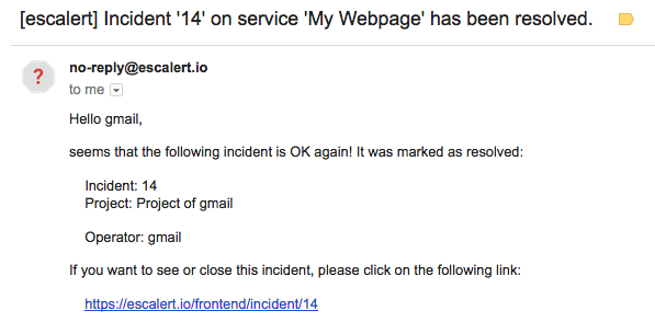 Example Incident Is Resolved By Mail